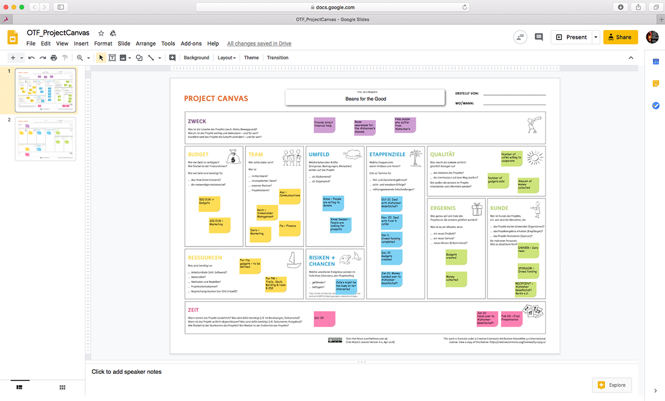 Project Canvas in Google Slides